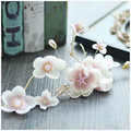 Bridal Pink Flower Rhinestone Headbands Tiara Wedding Hair Accessories Jewelry Sweet Cute Novia Casamento Acessorios Para Mulher