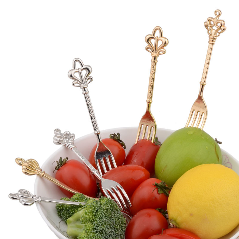 3Pcs/Lot Retro Crown Shaped Zinc Alloy Dinner Fork Fruit ...