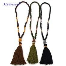 Длинное ожерелье ручной работы с деревянными четками этническое