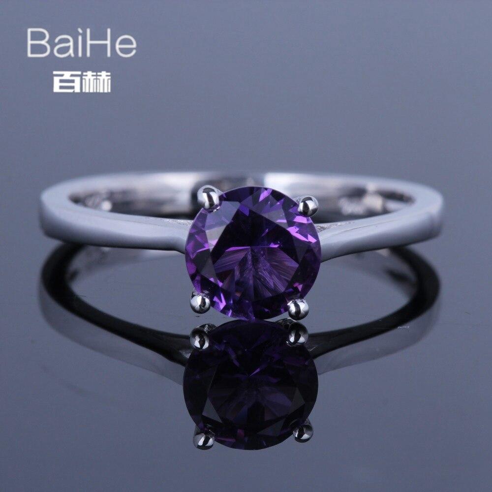 BAIHE Sterling Silver 925 0.9ct Certified Flawless 100% Genuine Amethyst Wedding Women Trendy Fine Jewelry Ring цена