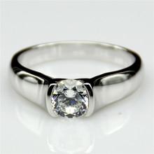 LASAMERO 1 Carat Half Bezel Esdomera Moissanites 14k White Gold Engagement Ring Lab Grown Diamond Fine