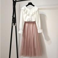 2019 New Fashion Elegant Runway Pink Gauze Skirts Sets Suits Casua 2 Piece Set Women Flare Sleeve Ruffle Blouse Skirts Sets