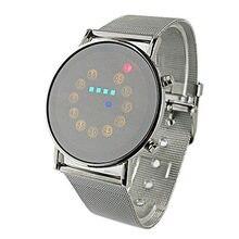 Kadın erkek kol Kırmızı + Sarı + Yeşil + Mavi LED hafif paslanmaz çelik Spor Saatler erkek kol saati dijital Adam elektronik saat