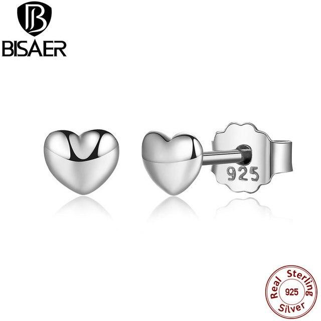 925 Sterling Silver Petite Hearts Stud Earrings Women Silver Earrings Jewelry brincos WEUS441
