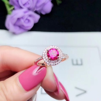 Pink topaz ring Natural real Pink topaz ring 925 sterling silver Free shipping Gem 6mm