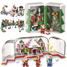 2019 New Chinese Christmas designer legoings Winter City Train Box Building Blocks Bricks Parts Advent Calendar Girls Boys Toys(China)
