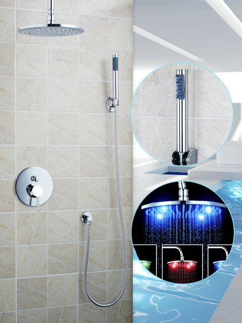 Soild Brass LED Light Chrome 8 ABS Shower Head+Valve+ABS Hand Spray+Hook+Hose Bathtub Sink Shower Set Torneira Tap Mixer Faucet blanco alta 512319 tap mixing valve oriental style chrome by blanco