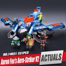 331pcs LEPIN 14021 Combination Knights Aaron Fox's Aero-Striker V2 model building blocks minifigure toys Nexus Compatible legoe