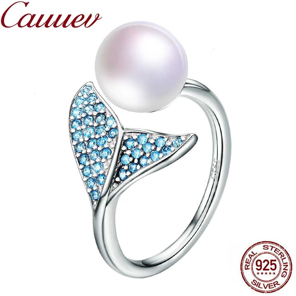 Natural Freshwater Pearl ring 925 Sterling Silver Female Mermaid Tail Adjustable Finger Rings for Women Wedding  Jewelry S925