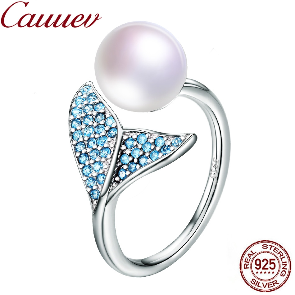 Natural Freshwater Pearl ring 925 Sterling Silver Female Mermaid Tail Adjustable Finger Rings for Women Wedding  Jewelry S925Natural Freshwater Pearl ring 925 Sterling Silver Female Mermaid Tail Adjustable Finger Rings for Women Wedding  Jewelry S925