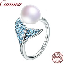 Natural Freshwater Pearl ring 925 Sterling Silver Female Mermaid Tail Adjustable Finger Rings for Women Wedding Jewelry S925(China)