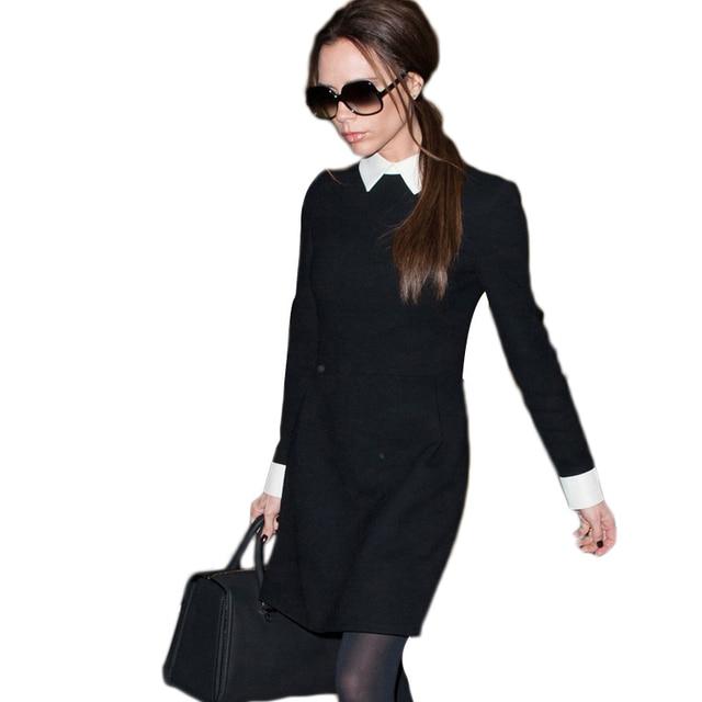 New 2017 Women winter dress Long sleeve black white Pencil dresses women work wear vintage dress vestidos femininos