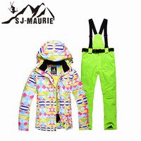 12 Colors Female Snowboard Suit Outdoor Winter Warm Jacket Woman Snow Suit Ski Jackets and Pants Ski Coat Skiing Suit Set