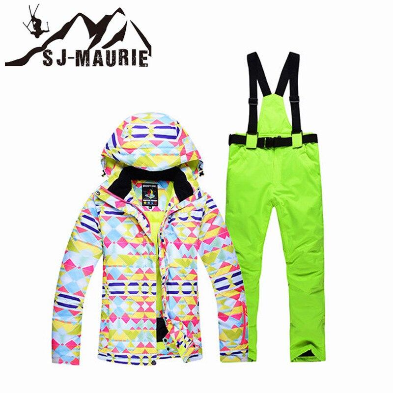 12 Colori Femminile Di Snowboard All'aperto Tuta Da Sci Di Inverno Del Rivestimento Caldo Della Donna Della Neve Tuta Da Sci Giubbotti E Pantaloni Da Sci Sci Cappotto Del Vestito Set