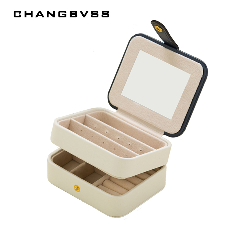 PU Storage Jewellery Box For Ring Necklace Earrings,Two Layers Jewelry Organizer Box With Mirror,Portable Makeup Jewelry Case