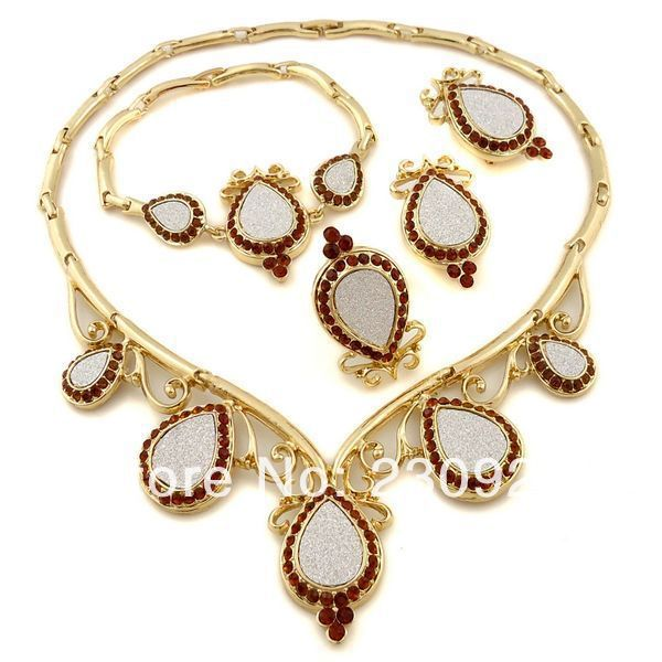 2014 african jewelry necklace set Pakistani bridal dubai gold