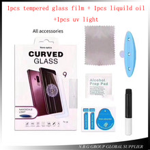 10set Full Glue Tempered Glass film For Samsung S7edge S6edge Note8 S8 S9 Plus 3D Liquid UV Screen For Huawei Mate20 Pro For LG(China)