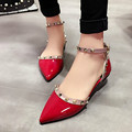Women flats lady shoes fashion pointed toe flat heel with rivets women leather shoes buckle 2017 new pink red black size 35-39