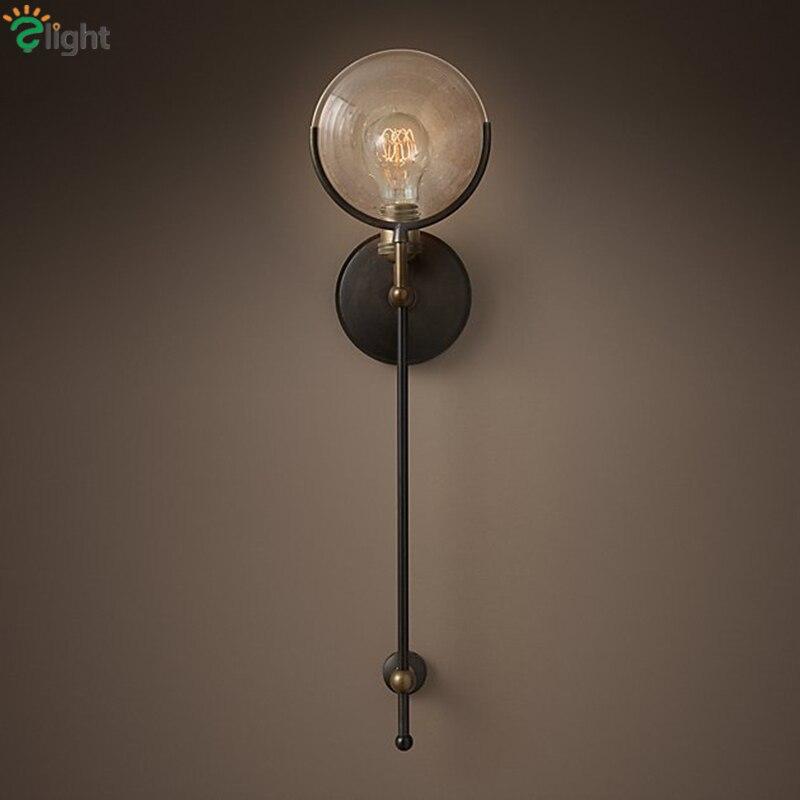 Américain rétro verre clair conduit mur lampe de cuivre luxtre métal luminarias appliques murales couloir luminaires lamparas