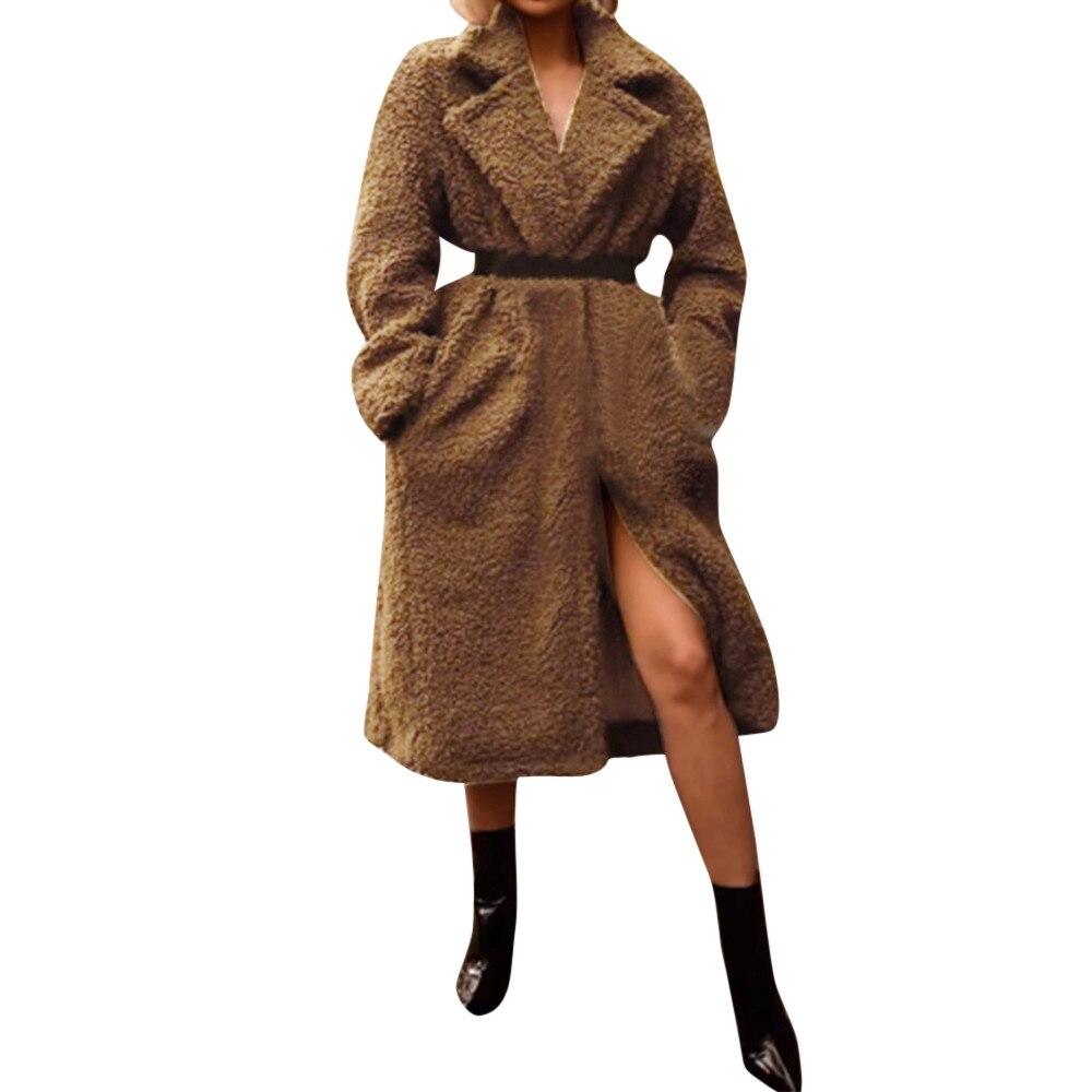 Manches Poche D'hiver Peluche D'ouverture Manteau En Hiver 2018 Longues kaki De Long Femmes Femme Bouton Cardigan Femalethick coffee Noir Veste BRBw0IqS