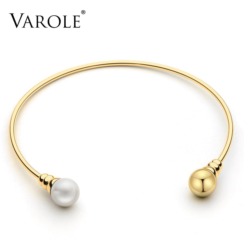 VAROLE contracté perle & perle Chokers colliers couleur or Collier en acier inoxydable Collier ras du cou pour femmes bijoux Collier