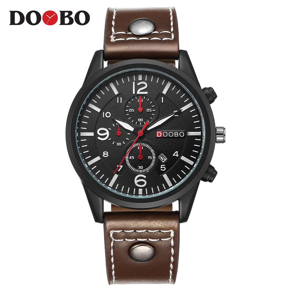 Top Luxury Brand DOOBO Men Sports Watches Men's Quartz Date Clock Man Leather Army Military Wrist Watch Relogio Masculino watches men luxury top brand fashion sports men s quartz hour date clock male army military wrist watch relogio masculino