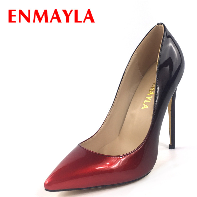 ENMAYLA Women Stiletto Heels Pointed Toe Pumps Women Gradient Wedding Dress OL Ladies Shoes High Heels Slip-on Shoes Woman цены онлайн