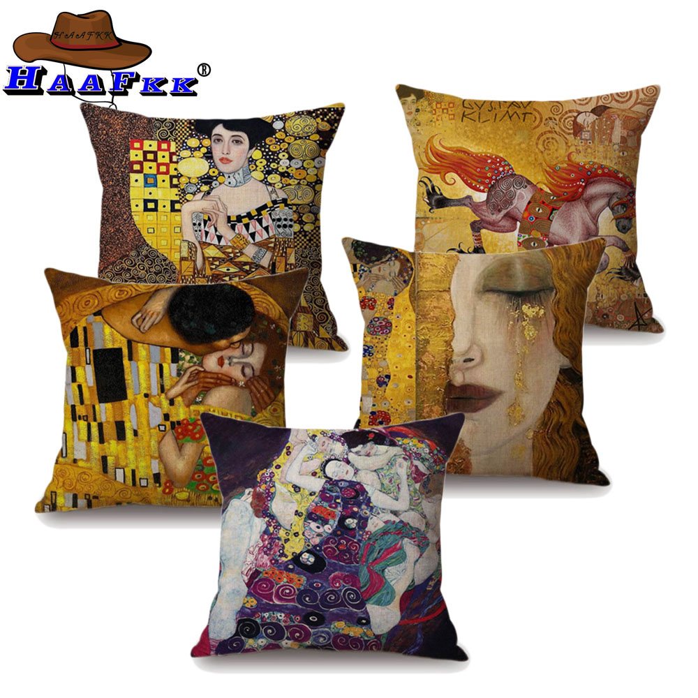 Popular Decorative Oil Painting Home Decorative Pillow Case Cover Gustav Klimt Gallery Collection Sofa Chair Cushion Cover