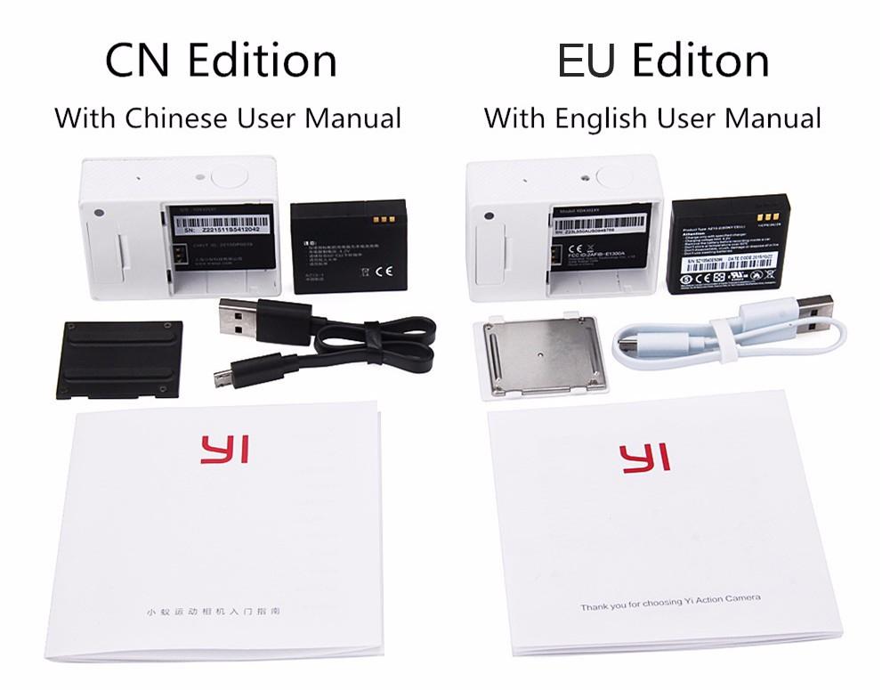 [International Edition]Original Xiaomi YI Action Camera Xiaoyi 1080P Sports Camera WiFi 3D Noise Reduction 16MP 60FPS Ambarella 20