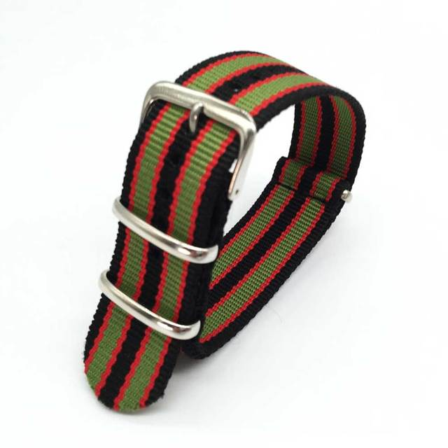 18 20 22 24 mm Colorful Striped Nato Strap for Army Sport Watch Nylon Watchband
