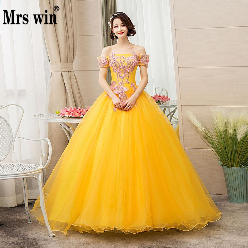 89d7c1286 Mrs Win Quinceanera Dresses 2019 New The Golden Off The Shoulder Lace  Vestidos 15 Anos Party