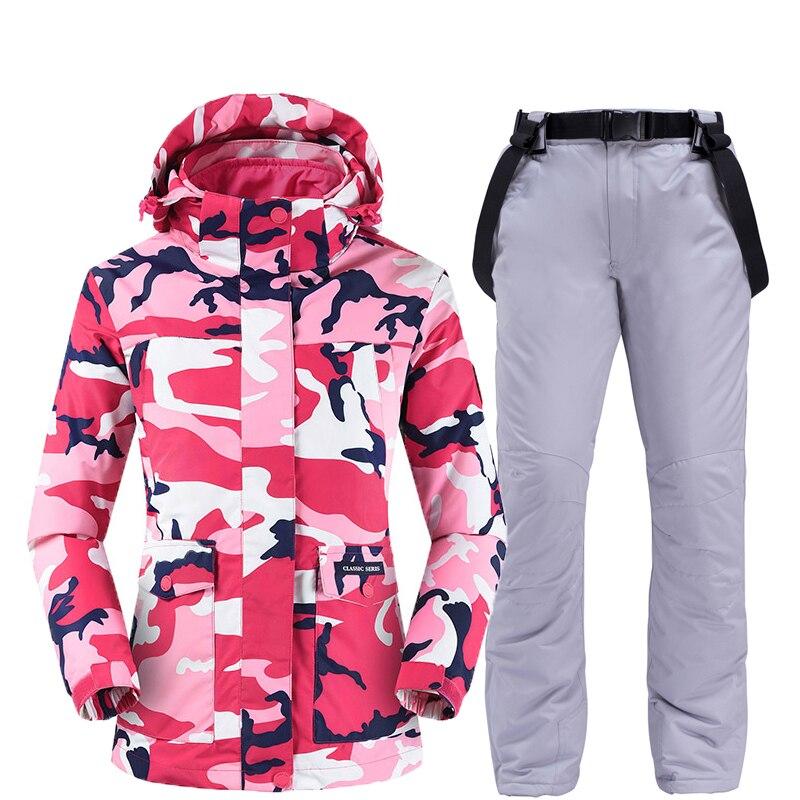 Vestes et pantalons de ski femmes ski costume snowboard ensembles très chaud coupe-vent imperméable neige vêtements d'hiver en plein air