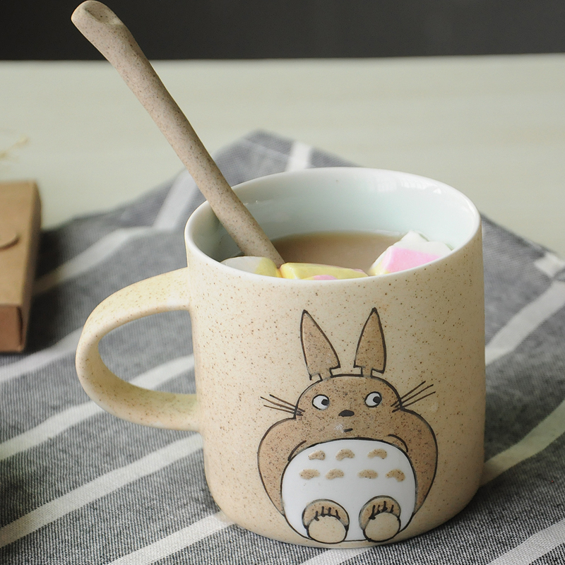 Totoro Handmade Ceramics Mugs With Spoon and cover 1