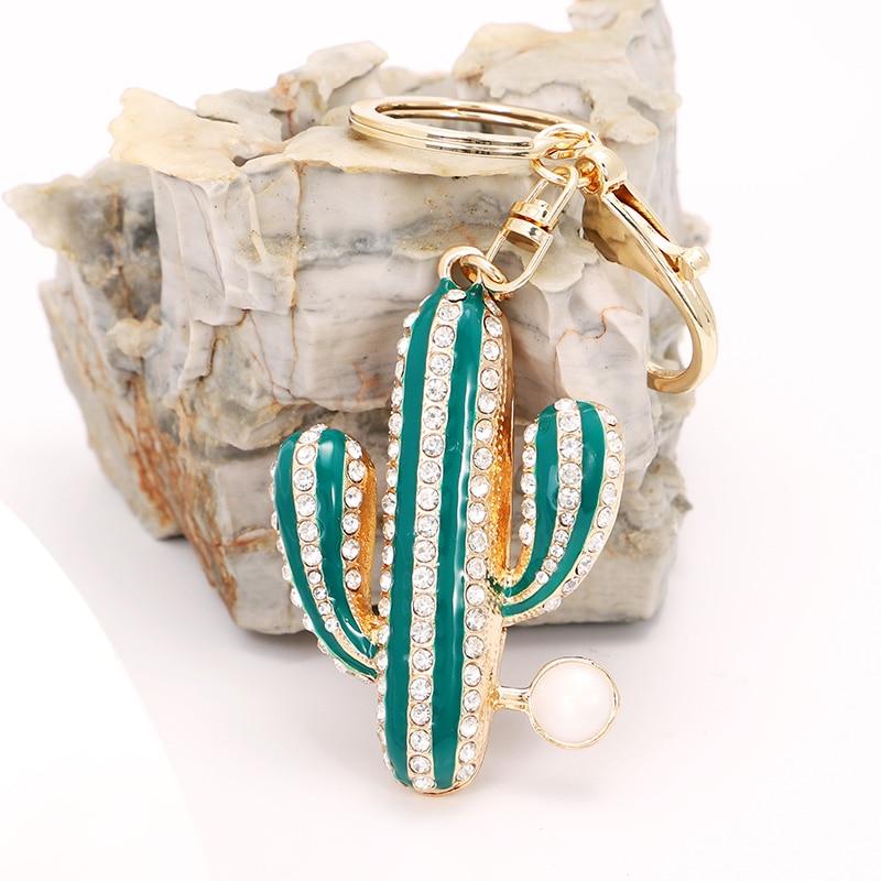 EASYA Unique Enamel Cactus Keychain Holder Fashion Crystal Handbag Charm Accessories Car Keyrings Key Chain Jewelry