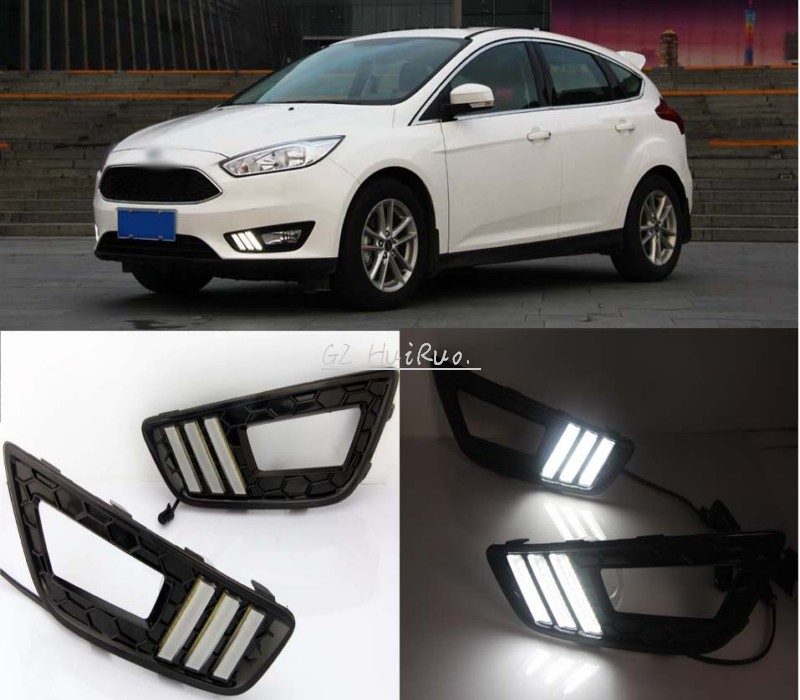 Dimming style Relay 12v LED Auto Car DRL daytime running lights Bumper Front Fog lamp for Ford Focus  2015 2016 киевское шоссе новостройки квартиру