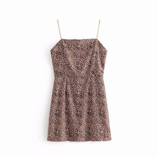 women sexy leopard print spaghetti strap mini dress retro strapless  vestidos ladies back zipper casual chic club dresses DS1213 fa063e91d