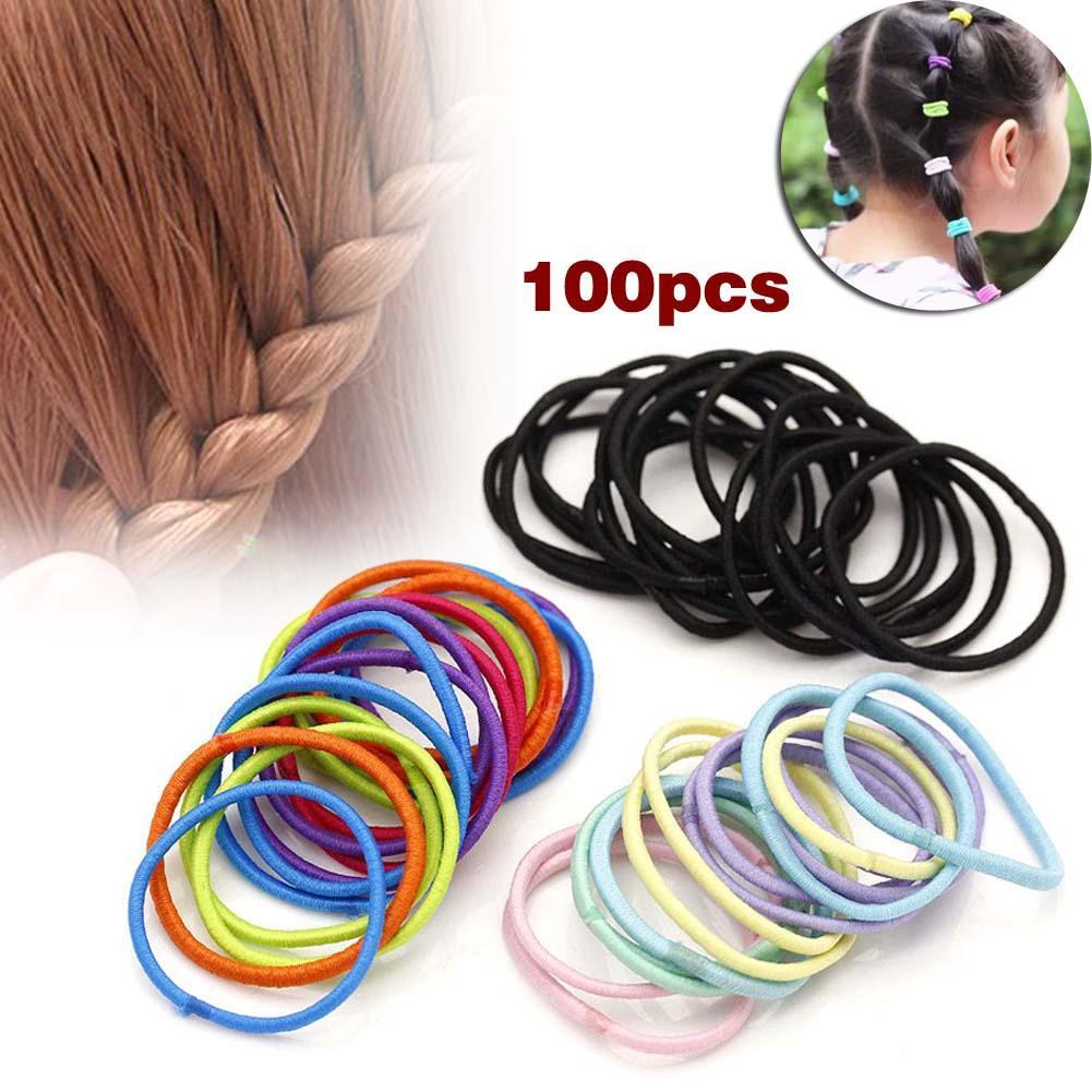 Wholesale 100 Pcs colorful Scrunchie Kids Girl Elastic Hair Bands Ponytail Holder Head Rope Ties   Headwear   Hair dress Accessories
