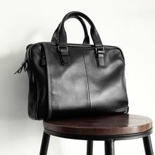 2017 neue Natürliche Rindsleder 100% Echtem Leder herren Aktentasche Fashion Große Kapazität business-tasche Schwarz Männlichen Schulter Laptop-tasche