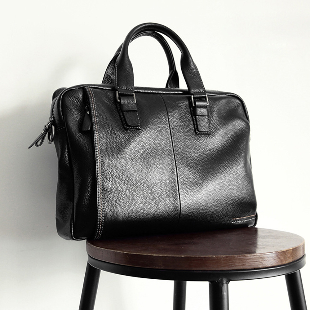 2019 New Natural Cowskin 100% Genuine Leather Men's Briefcase Fashion Large Capacity Business bag Black Male Shoulder Laptop Bag