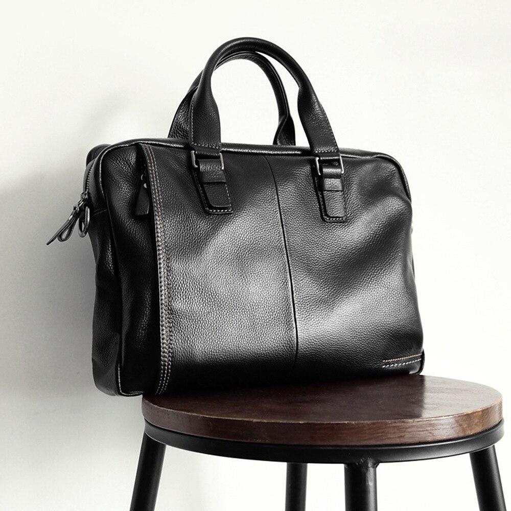 2019 Nouveau Naturel Cowskin 100% Serviette de cuir véritable, homme De Mode Grande Capacité sac de travail Noir Mâle sac à bandoulière pour ordinateur portable