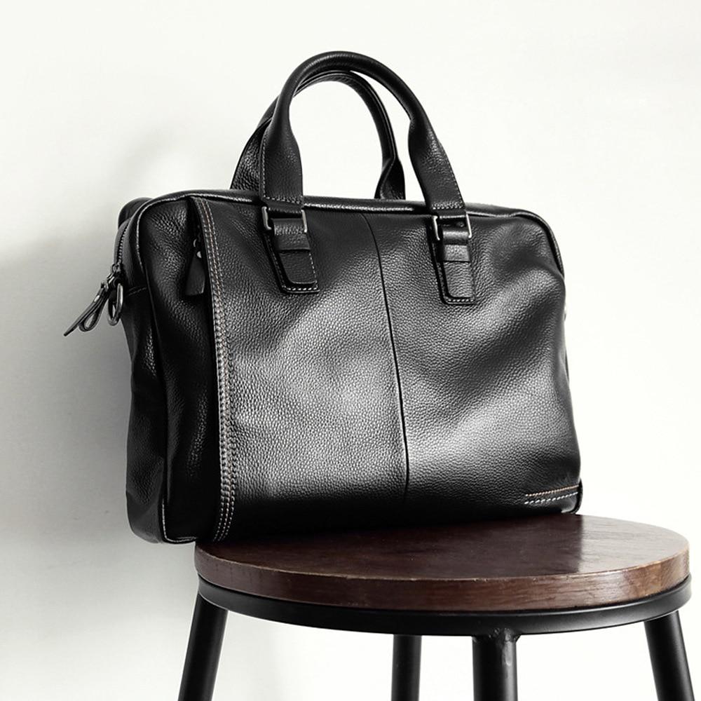 2019 nuevo maletín de piel de vaca Natural 100% de cuero genuino para hombre bolso de negocios de gran capacidad de moda bolso de hombro negro para portátil Masculino - 2