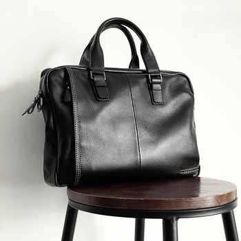 2020 New Natural Cowskin 100% Genuine Leather Men\'s Briefcase Fashion Large Capacity Business bag Black Male Shoulder Laptop Bag - DISCOUNT ITEM  83 OFF Luggage & Bags