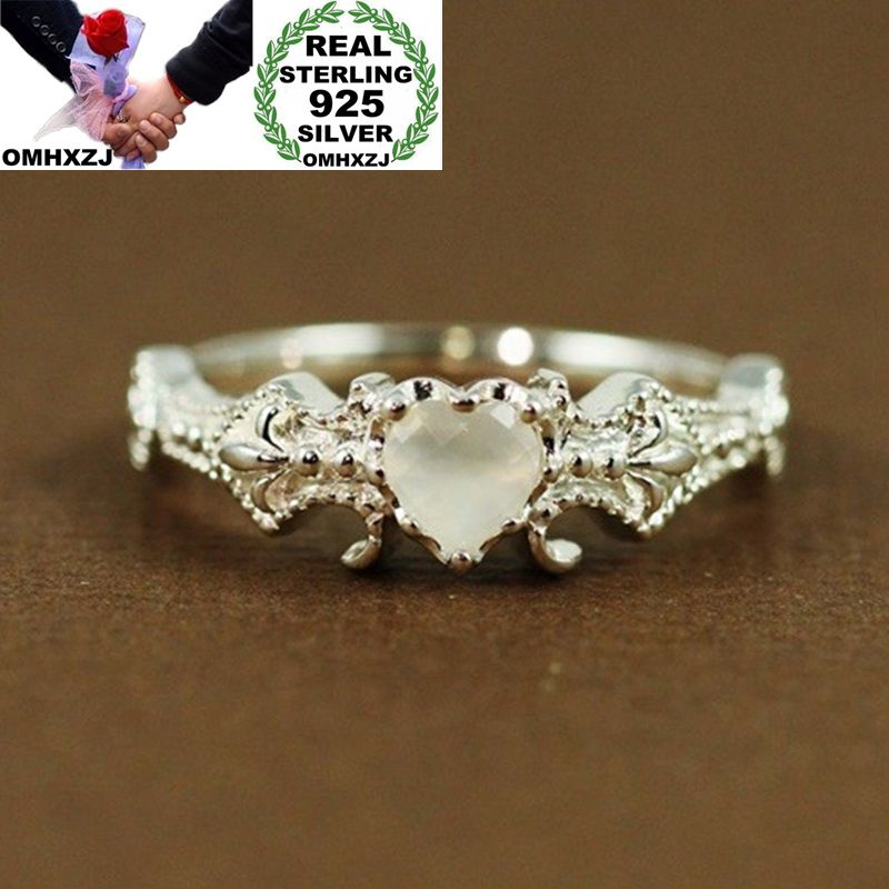 OMHXZJ Wholesale European Fashion Woman Girl Party Wedding Gift Silver White Heart Opal 925 Sterling Silver Ring RR182