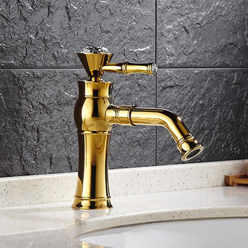 Robinets de bassin LIUYUE moderne or couleur pont monté salle de bain mélangeur robinets finition noire avec diamant haut salle de bain évier robinet