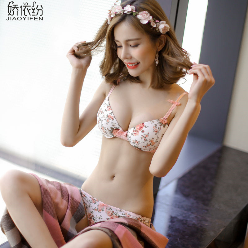Hot Sale Sexy Women Lace Lingerieyoung Girl Printing Bra Brief Setstwo Row Lace Deep V Brasexy Girl Bra Panty Set Big Cup Bra