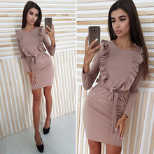 Oufisun Spring Ruffles Sashes Sheath Bodycon Dress Women New Solid Long Sleeve O-Neck Casual Dress Sexy Party Mini Women Dresses long sleeve mini sheath dress