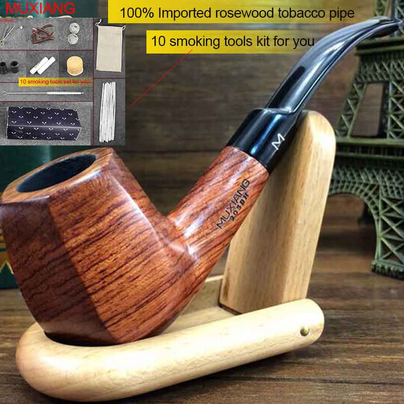 US $16 8 30% OFF|MUXIANG Free Tools Kit Bentkevazingo wood Tobacco Pipe  Handmade Smoking Pipe with 9 mm Filter (wood rack not included) ad0014-in