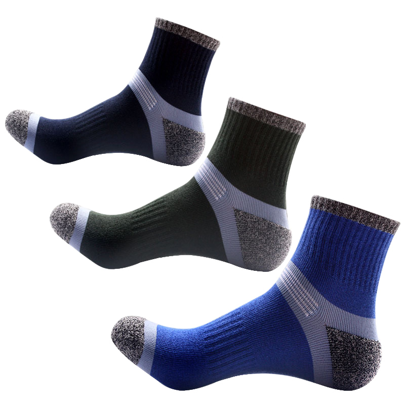 3 Pairs Cotton Man Socks Compression Breathable Socks Boy Contrast Color Standard Meias Good Quality Elasticity Sheer Work Socks