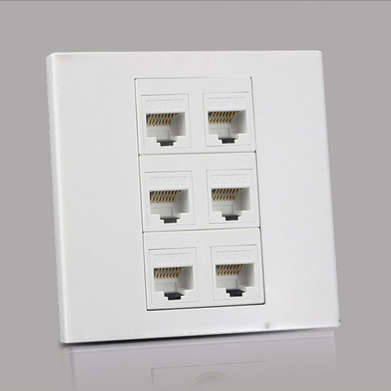 6 Ports RJ45 5e Network Wall Outlet Socket Internet Interface For Computer Laptop