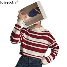 NiceMix 2019 Autumn Stripe Sweater Women Pullovers Knitted Shrug O-neck Knitwear Fashion Woman Clothes Pull Femme Jersey Mujer